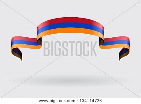 Armenian flag wavy abstract background. Vector illustration.