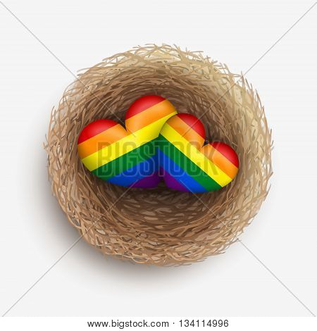 Two LGBT-colored hearts are laying together in nest. Homosexual couple concept