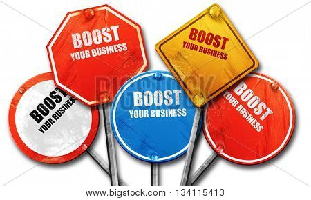 boost your business, 3D rendering, rough street sign collection