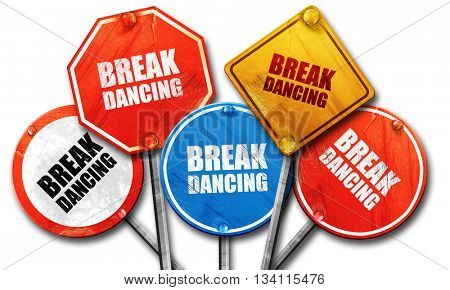 break dancing, 3D rendering, rough street sign collection