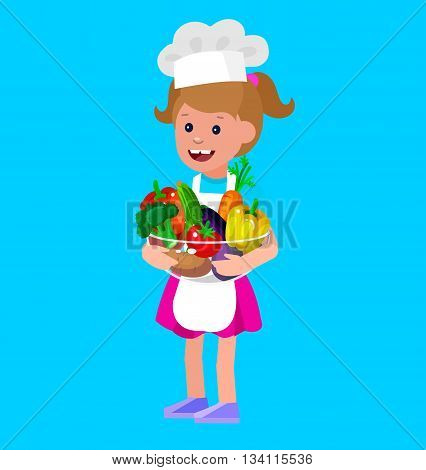 Cute vector character child and healthy food. Child girl with vegetables, cooking kid. Happy kid illustration. Detailed character child. Vector fun child.