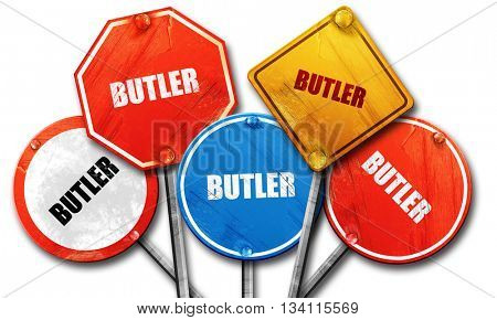 butler, 3D rendering, rough street sign collection