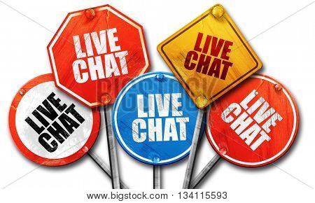 live chat, 3D rendering, rough street sign collection