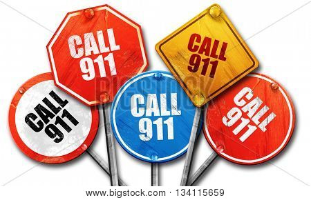 call 911, 3D rendering, rough street sign collection