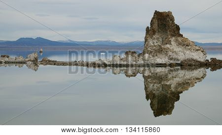 Reflection of a Tufa Formation in Mono Lake, California, Near Mammoth Lakes and Yosemite National Park.
