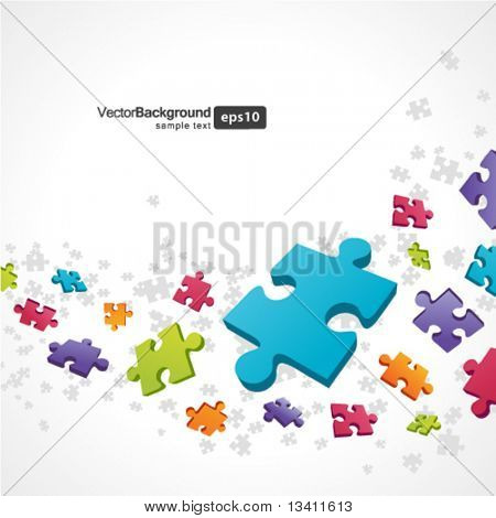 3d colorful puzzle piece vector background