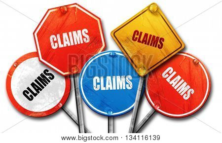 claims, 3D rendering, rough street sign collection