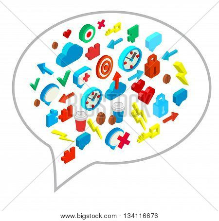 Isometric icon of human brain process, people thinking, brain process character. Brain process. Infographic brain process. Vector logo brain process. Brain process collection concept