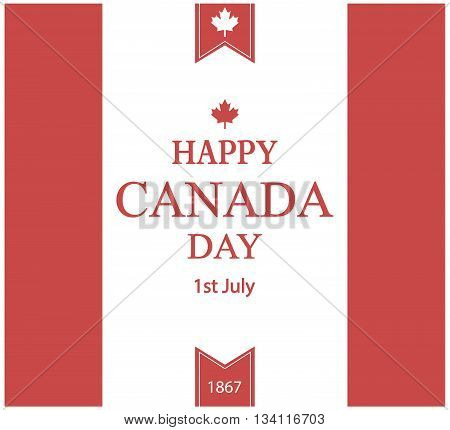 Happy canada day greeting card or background. vector illustration.