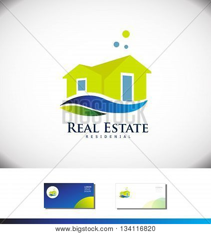 Vector company logo icon element template real estate house villa property residential construction realty realtor 3d green blue