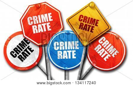 crime rate, 3D rendering, rough street sign collection