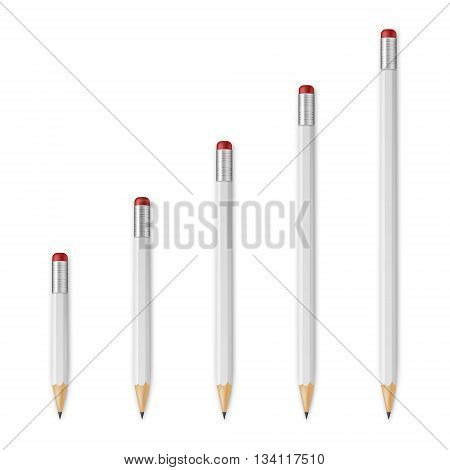 White wooden sharp pencils isolated on a white background. Vector EPS10 illustration.