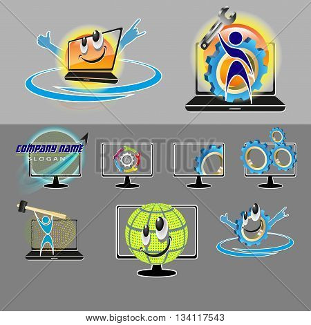 vector set of various logo, smilies with the image of a human silhouette, spanner, screwdriver for repair, PC maintenance, laptop