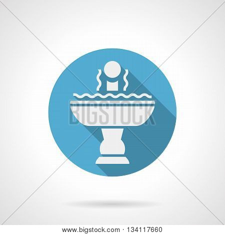 White silhouette single bowl fountain with water and ball-shaped decoration. Elements and objects for parks and gardens landscaping. Round blue flat style vector icon.