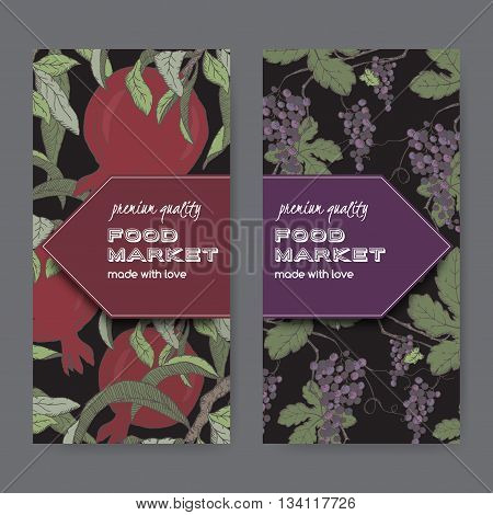 Set of two food market label templates with grape and pomegranate color sketch on black background. Includes hand drawn elements.