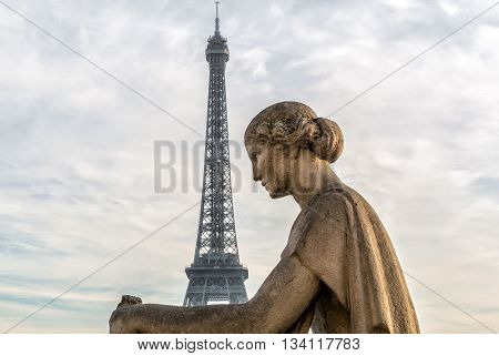 Statue of woman at the Trocadero with Eiffel Tower at background