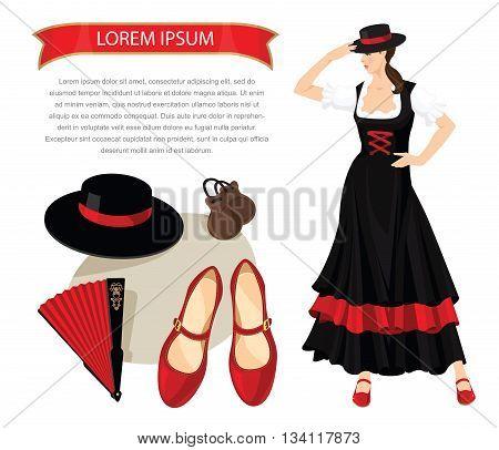 Vector illustration of woman dancer in spanish folk costume. Element of traditional flamenco equipment. Brunette girl get dressed hat on her head