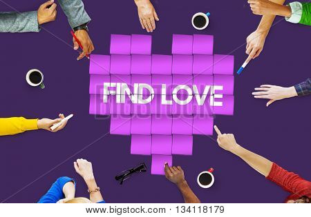 Find Love Heart Technology Graphic Concept