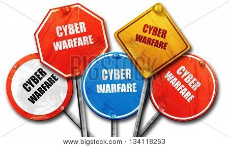 Cyber warfare background, 3D rendering, rough street sign collec