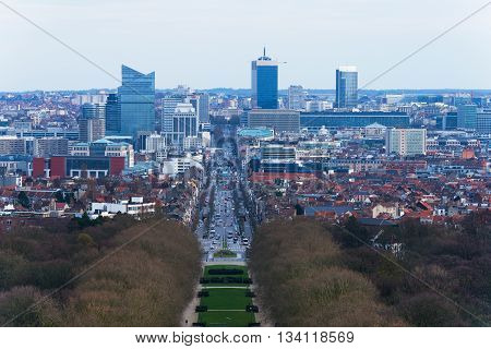 Brussels (Bruxelles) - February of 2016 Belgium: Aerial view of business district of the city, Boulevard of Leopold II and Brussels skyscrapers