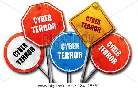 Cyber terror background, 3D rendering, rough street sign collect