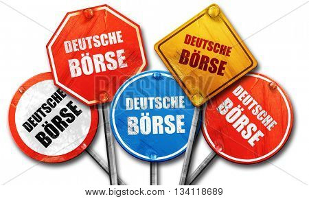 Deutsche borse, 3D rendering, rough street sign collection