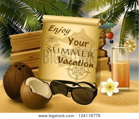 tropical vector background with summer sky and clouds wooden desk old paper coconut glass of orange juice and sunglasses on a sand beach in monochrome