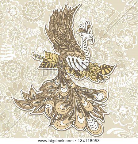 Illustration of flying Phoenix Bird. Vector illustration on seamless background with mehndi flowers.