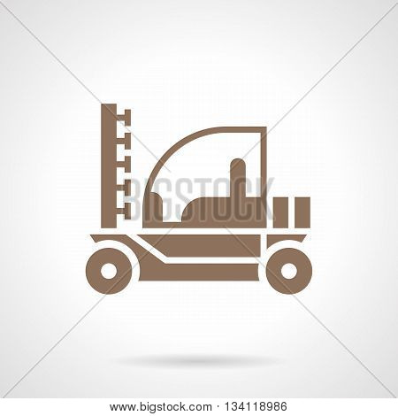 Monochrome silhouette irrigation tractor. Agricultural machinery and equipment. Farming services. Symbolic brown glyph style vector icon.