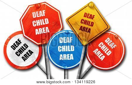 Deaf child sign, 3D rendering, rough street sign collection