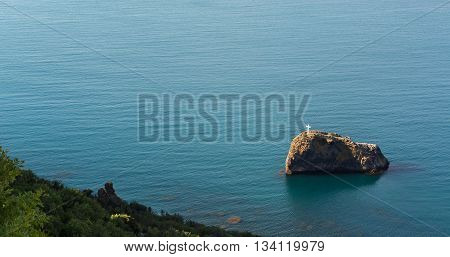 Cross on the Saint George rock near cape Fiolent. Heraclean peninsula on the southwest coast of Crimea. Balaclava district of Sevastopol.