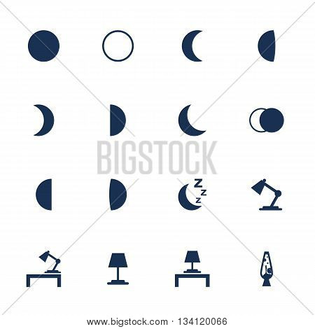 Set of flat icons with moon phases and illumination items