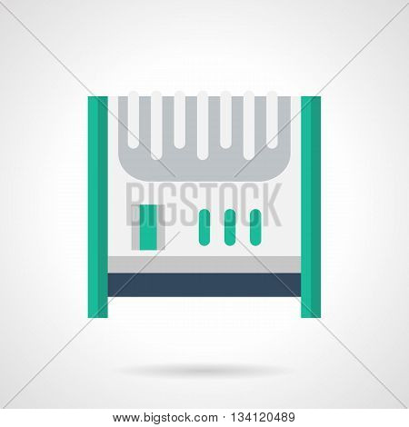 White oil-filled radiator or electric heater with green elements. Climatic technics for home, household appliances. Flat color style vector icon.