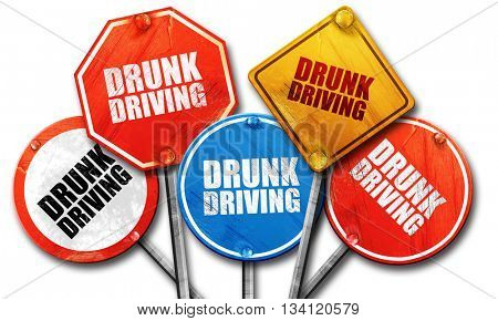 drunk driving, 3D rendering, rough street sign collection