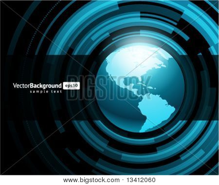 Abstract technology circles with globe vector background
