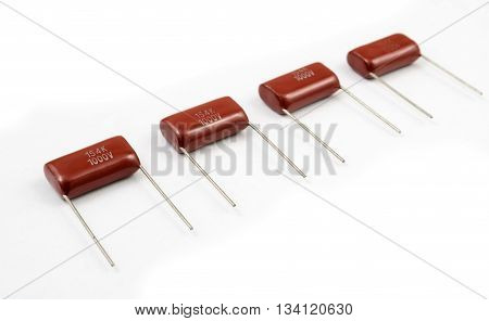 Capacitor Row On White Background