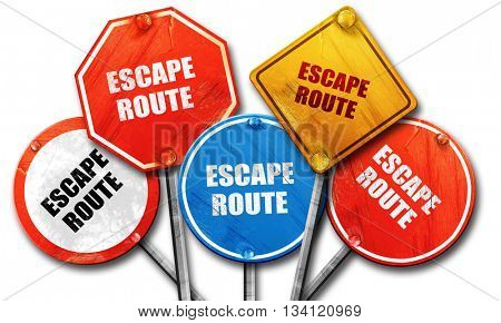 escape route, 3D rendering, rough street sign collection