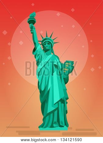 High quality, detailed most famous World landmark. Statue of Liberty. USA. Travel vector. Travel illustration. Travel landmarks. Happy travel