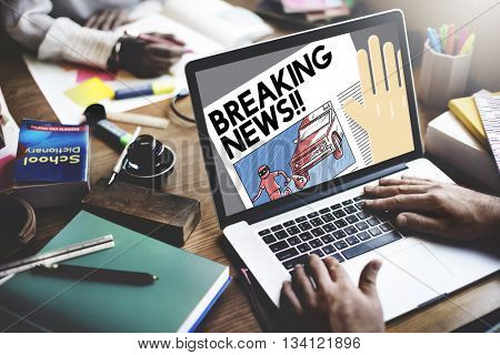 Breaking News Announce Article Information Concept