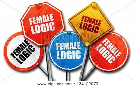 female logic, 3D rendering, rough street sign collection