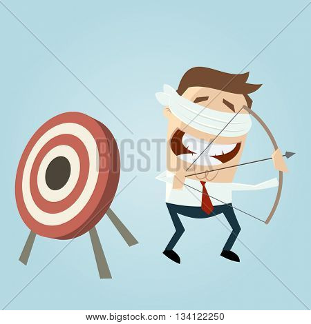 blindfolded businessman aiming in the wrong direction