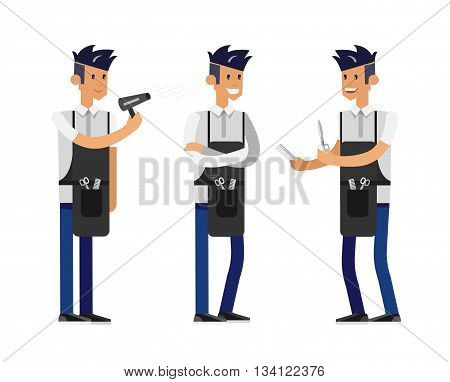 Detailed character male smiling Barber. Illustration with gay hairdresser. Web banner template  for beauty saloon isolated on white background.