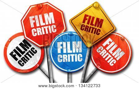 film critic, 3D rendering, rough street sign collection