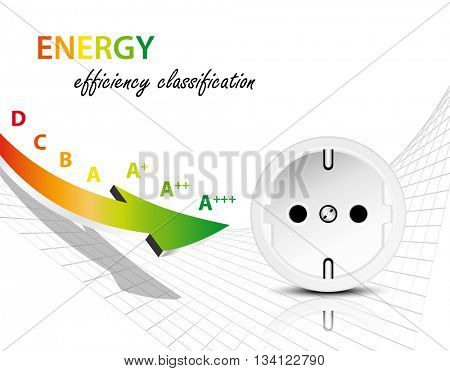 Electricity consumption concept with energy efficiency graph and socket - electric power infographic with arrow