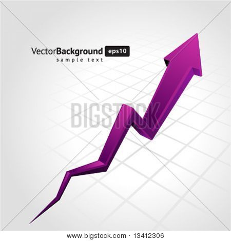 Purple graph arrow move up vector background