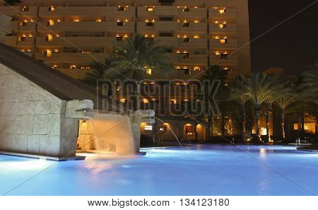 LAS VEGAS, NEVADA, MAY 23. The Cancun Resort on May 23, 2016, in Las Vegas, Nevada. The Mayan waterscape and dramatic lighting effects at the Cancun Resort in Las Vegas Nevada.