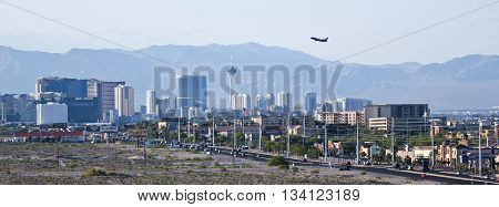LAS VEGAS, NEVADA, MAY 24. Las Vegas Boulevard on May 24, 2016, in Las Vegas, Nevada. A view of the south end of Las Vegas Boulevard looking north in Las Vegas Nevada.