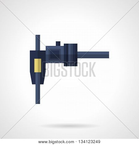 Blue mechanic meter gauge with handle and sliding head. Caliper, vernier. Tool to measure with high precision. Flat color style vector icon.