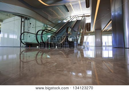 Building Interior Escalators And Stairs