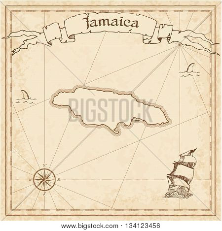Jamaica Old Treasure Map. Sepia Engraved Template Of Pirate Map. Stylized Pirate Map On Vintage Pape